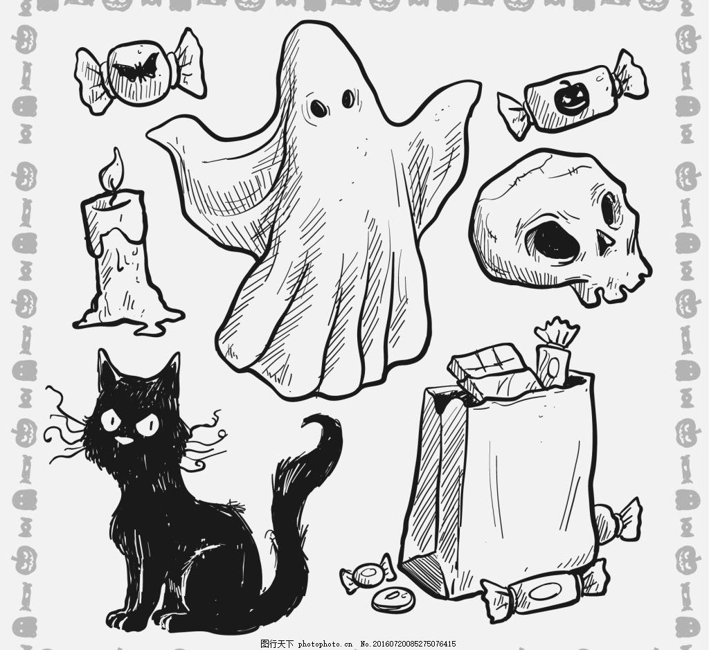 手绘万圣节元素 猫 蜡烛 幽灵