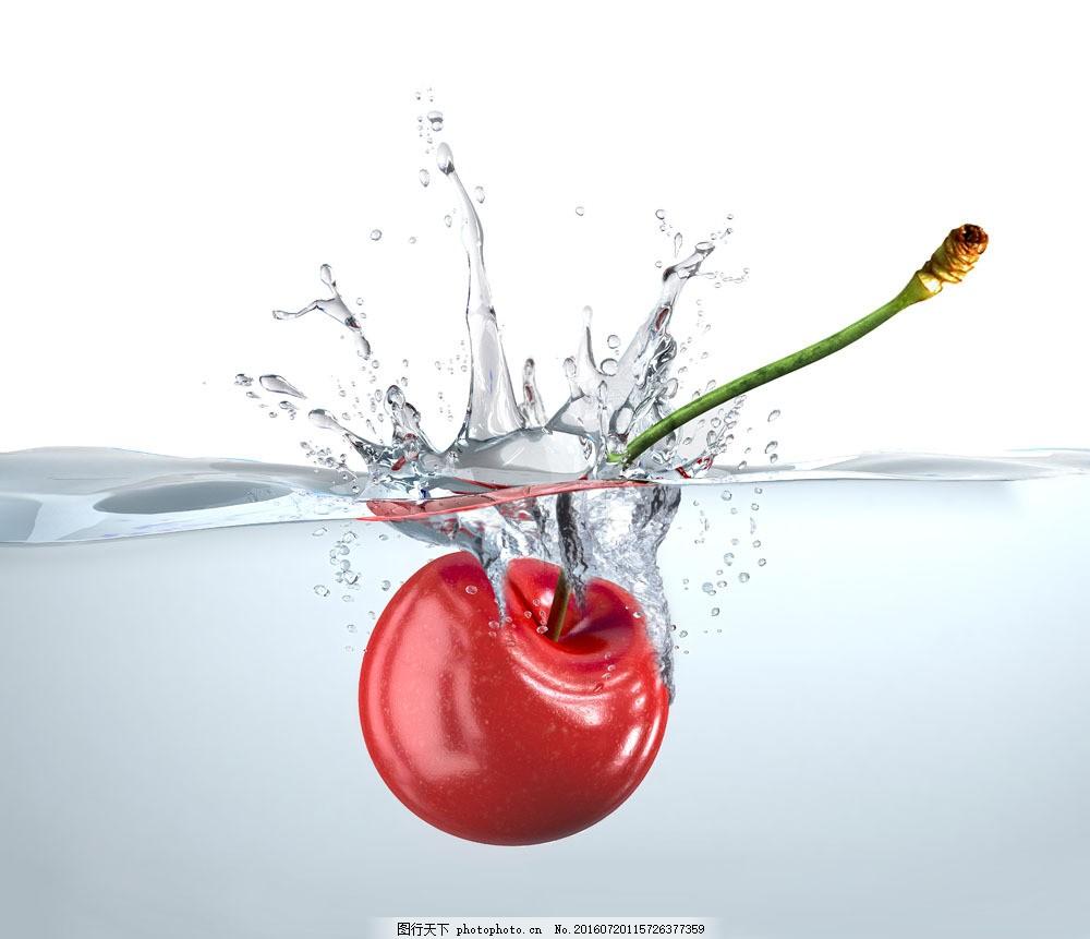 水中的樱桃图片素材 水 水花 樱桃 水果 饮料 食物 美食 水果蔬菜
