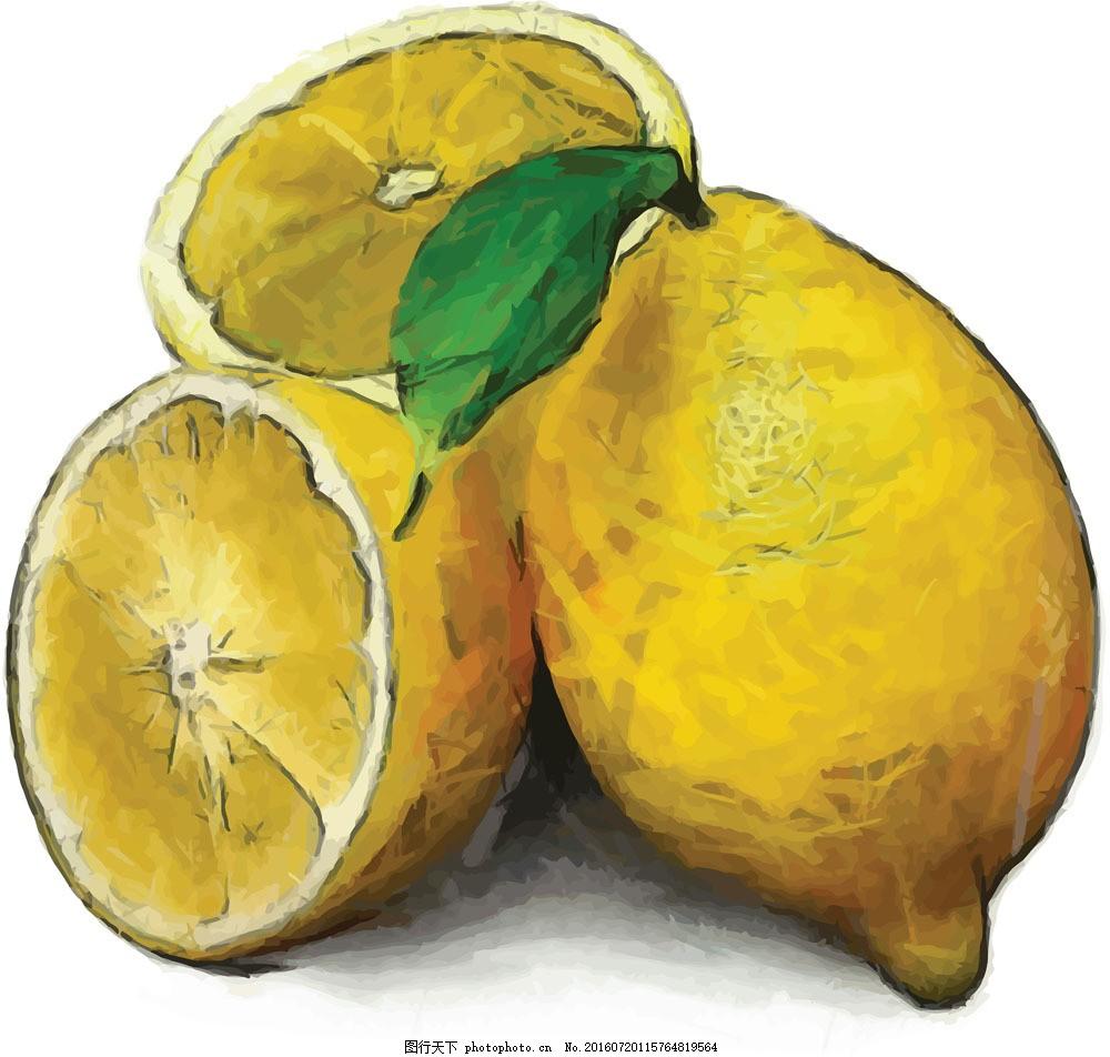手绘柠檬图案图片