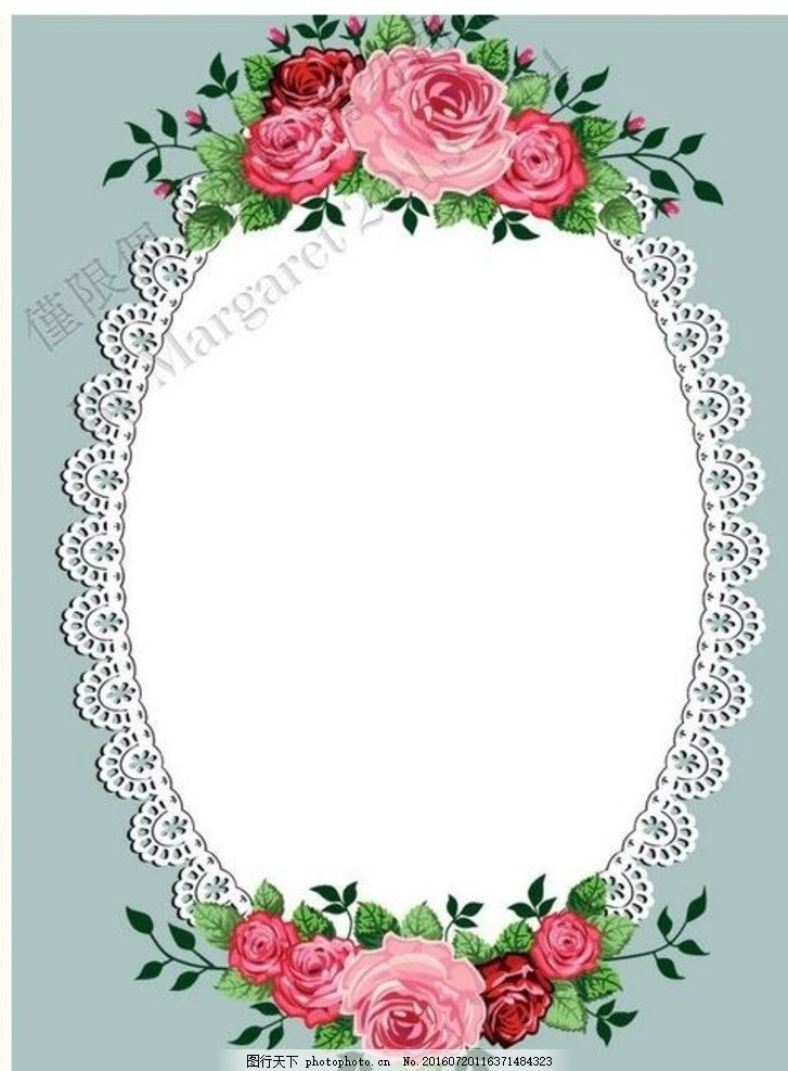 玫瑰 相框 灰蓝 椭圆 红玫瑰 灰色 背景 素材 插画 花朵边框 花草边框
