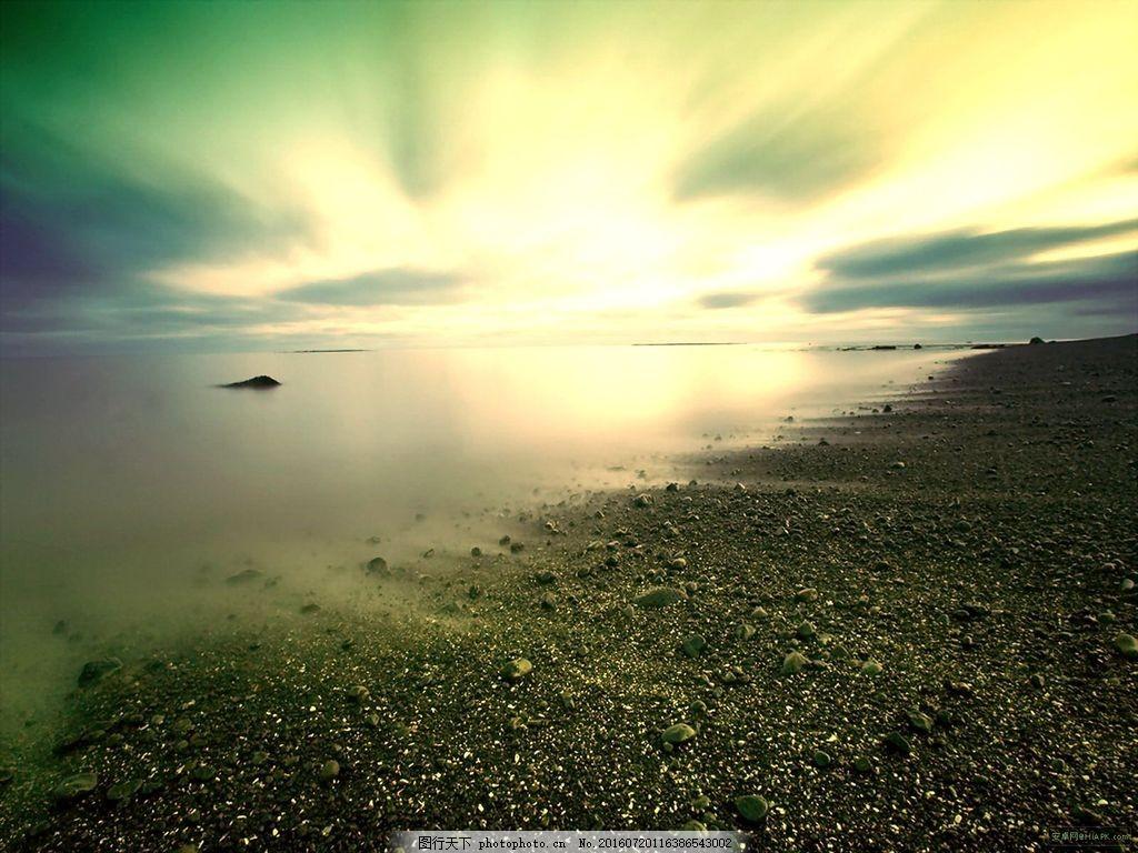 傍晚沙滩风景图片