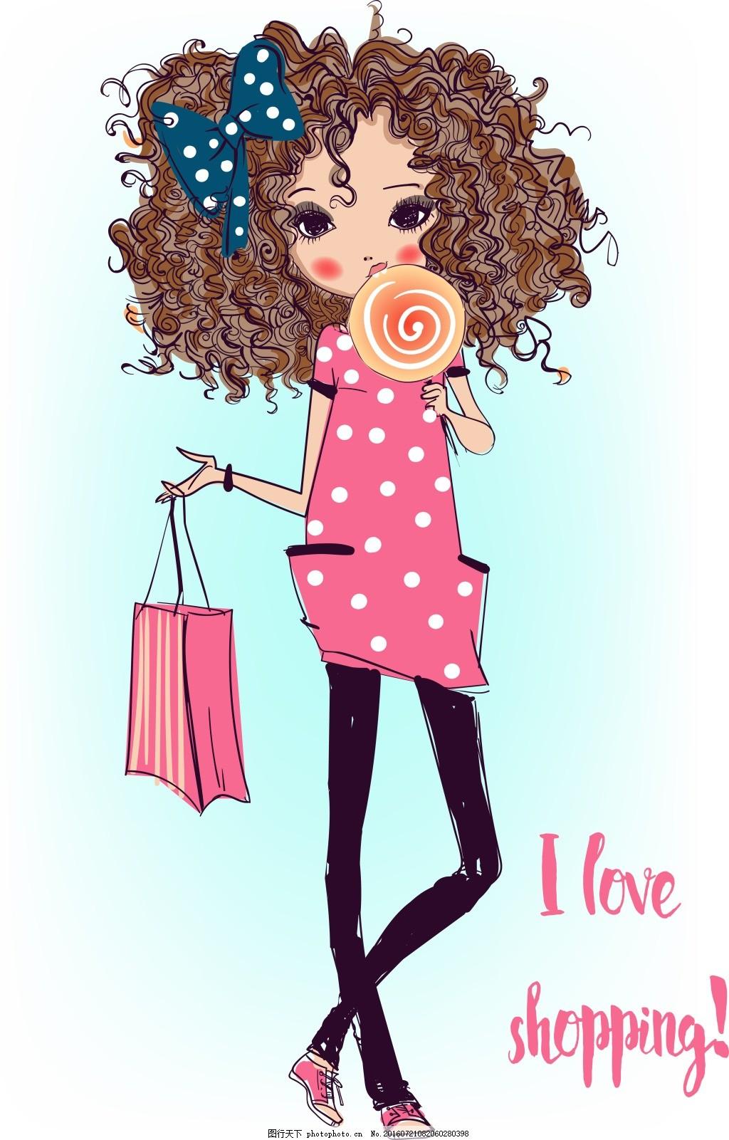 可爱的小女生 人物 手绘 卷发 可爱 小女生 棒棒糖