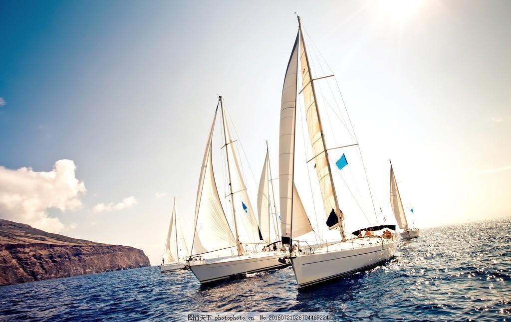 扬帆起航 帆船 帆船出海 乘风破浪 航行 航海 大海 蓝天 乘船出海
