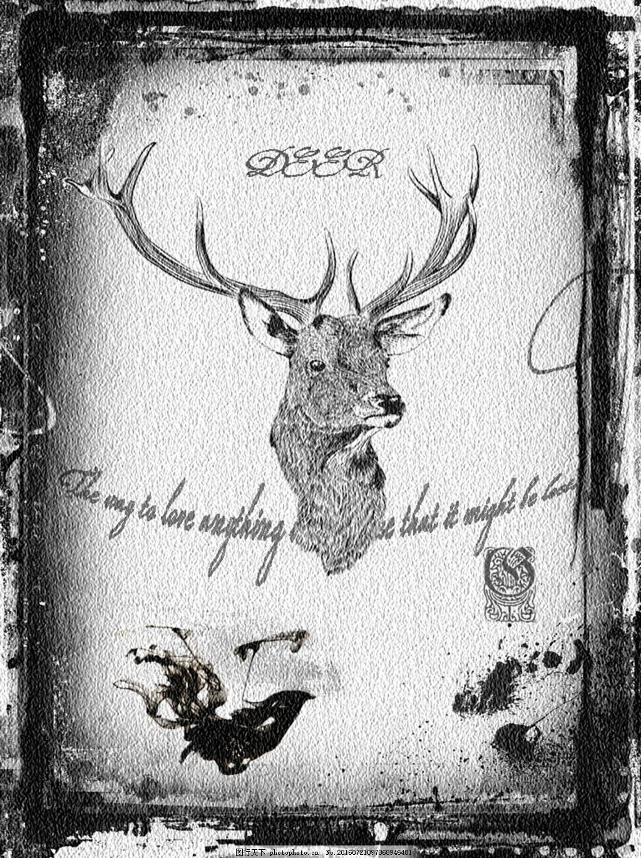 复古装饰画 动物 鹿角 黑白 白色