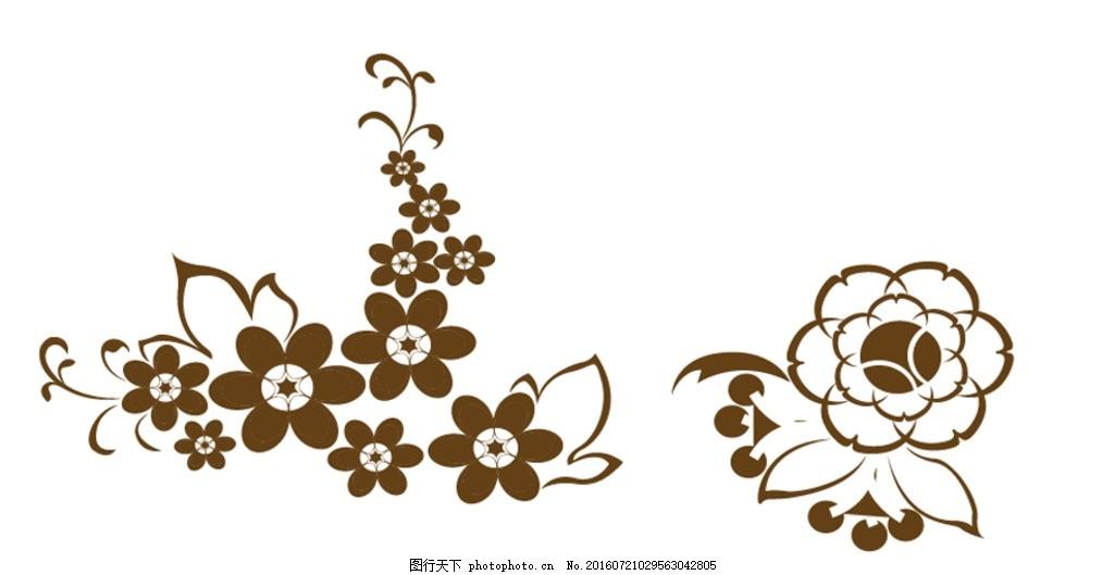卡通花朵 欧式鲜花花朵 黑白 矢量 素材 花朵简笔画 黑白花朵 欧式