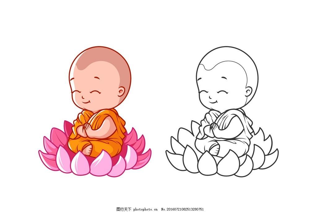卡通佛教儿童 莲花 植物 宗教 插图儿童 小和尚 广告设计图片