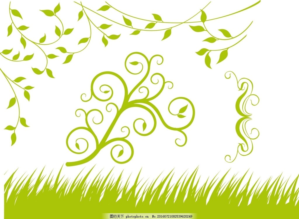 小草 树藤 绿色花纹 手绘素材 鲜花 草地 绿叶 手绘花草 花朵