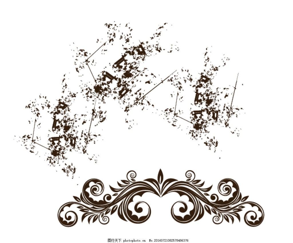 欧式花纹 泼墨素材