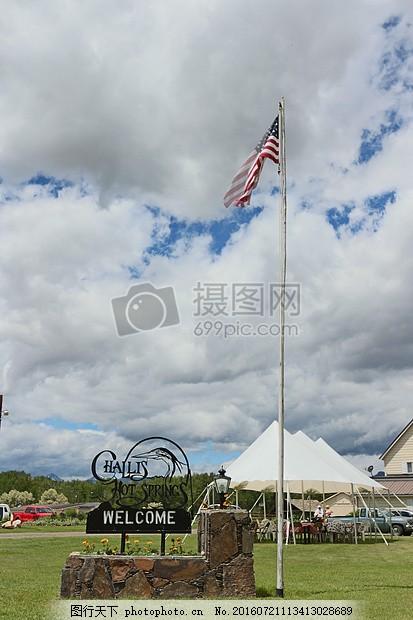 蓝天下飘扬的旗帜 美国国旗 国旗 爱国主义 农场 独立 国家 符号 风