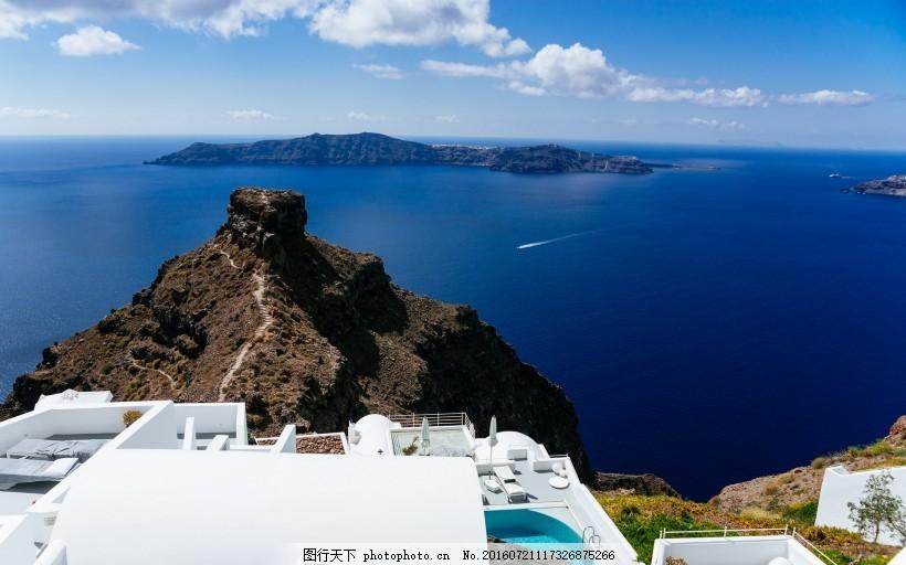 蓝色的爱琴海风景