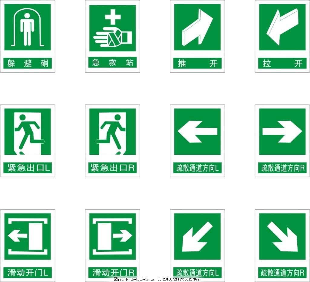 安全通道标识 消防通道提示标志 安全通道提示牌标志 紧急出口标志