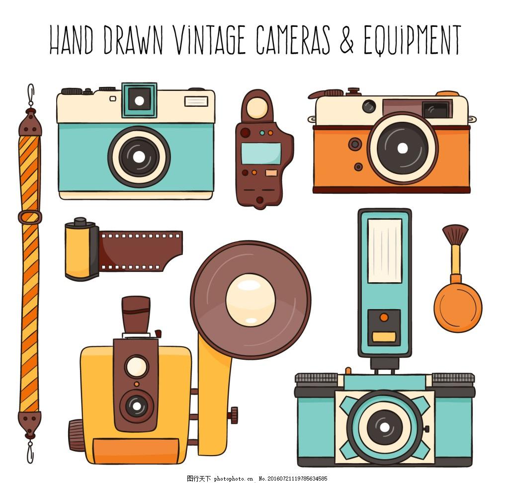 老式手绘相机 老式相机 胶卷