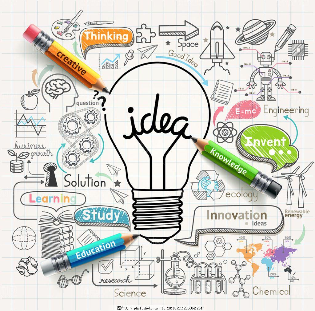 时尚商务创意手绘设计矢量素材 创意广告 卡通铅笔 电灯泡 创意思维