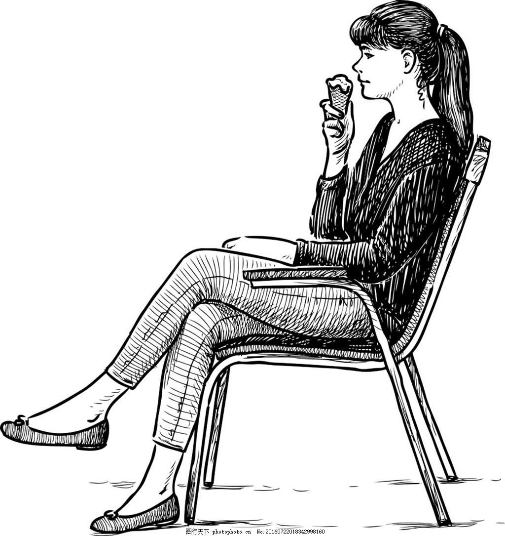 椅子吃冰激凌的女学生 凳子 手绘图 矢量 美女 女孩子 吃冰激凌的女人