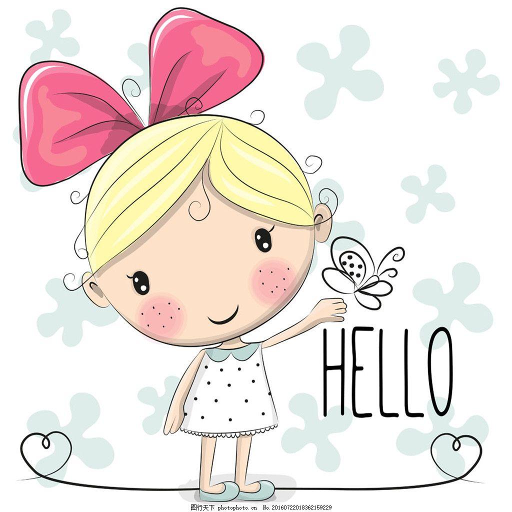 可爱的蝴蝶女孩 插画 黑色 卡通 可爱 漫画 人物 时尚 可爱的女孩