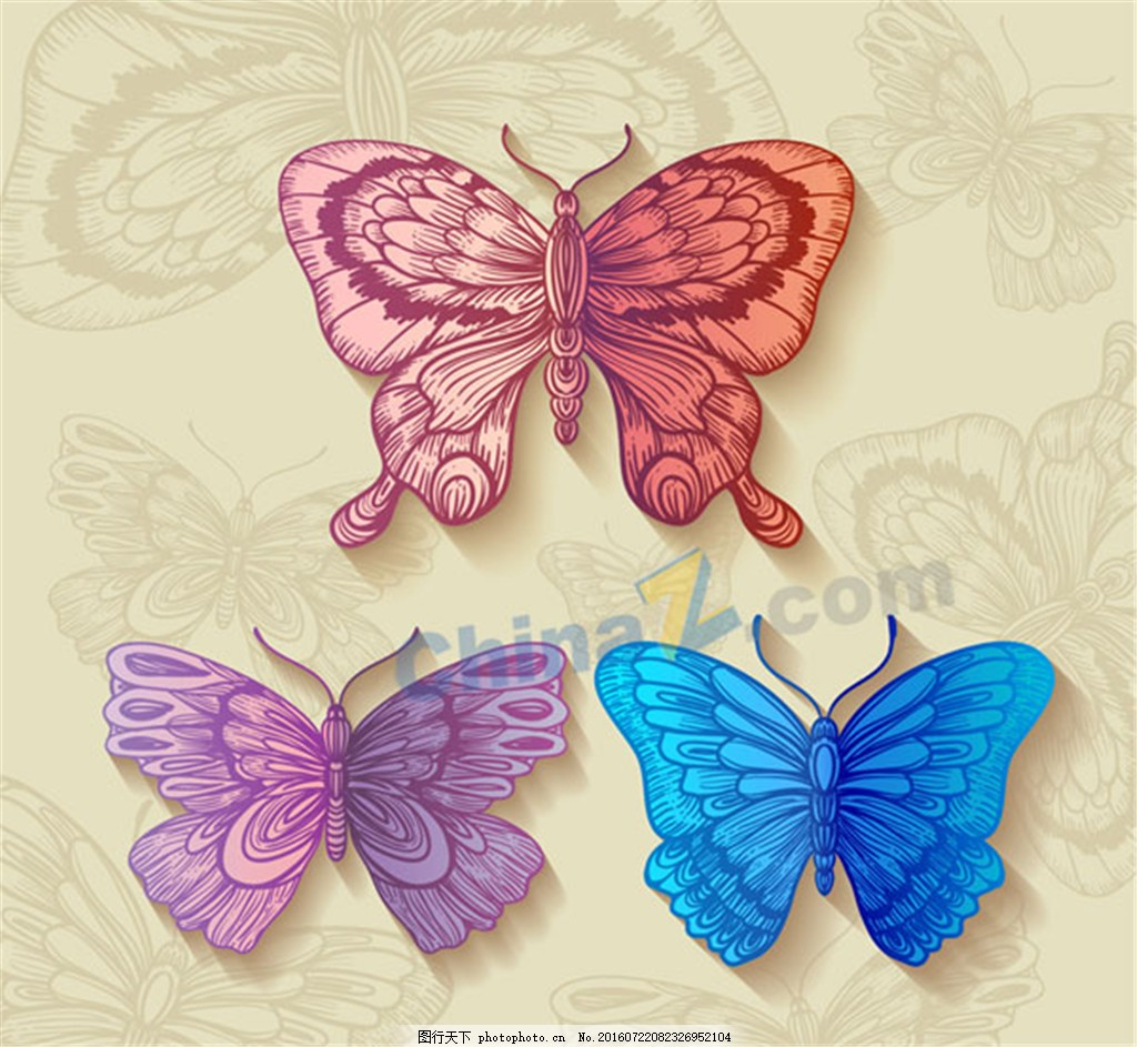 3个复古色彩手绘蝴蝶 彩色 手绘图 彩蝶 矢量 黄色