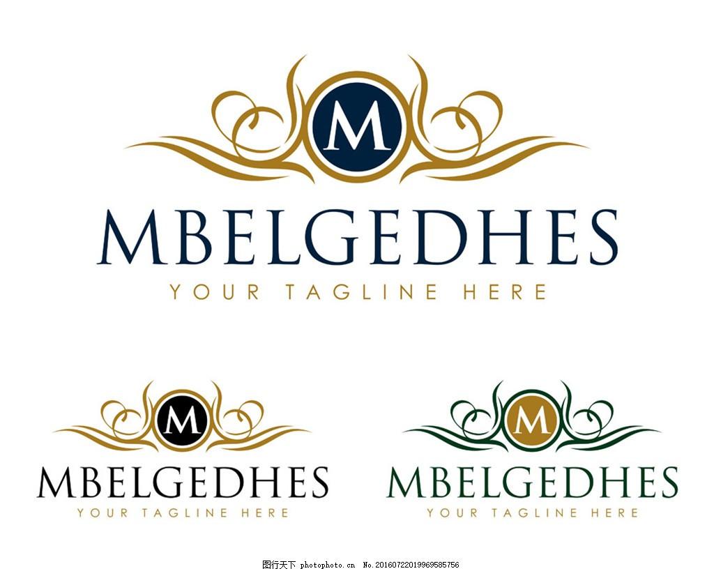 欧式花纹m字母logo图片