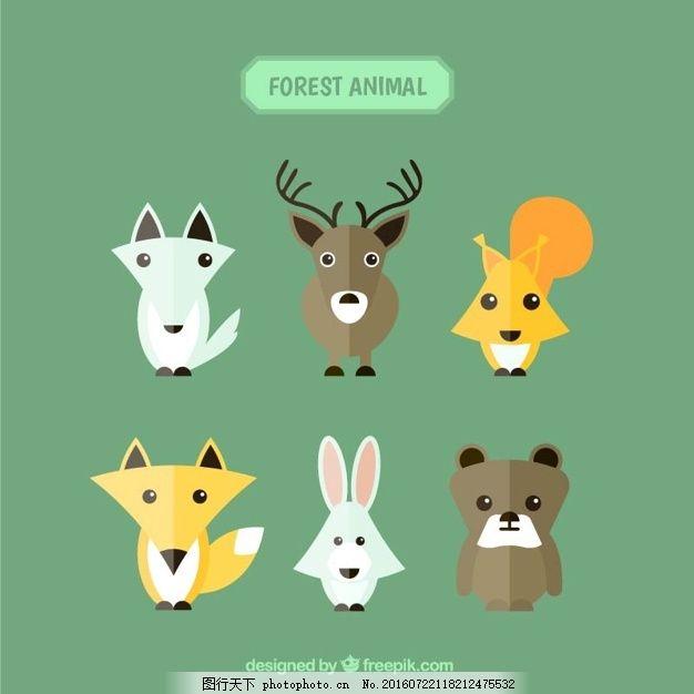 几何风格中的森林动物 设计 几何 自然 动物 单位 森林 熊 鹿 狼 兔子