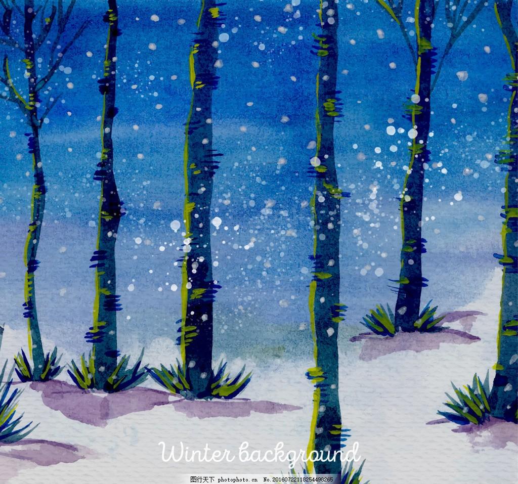 水彩森林水彩背景
