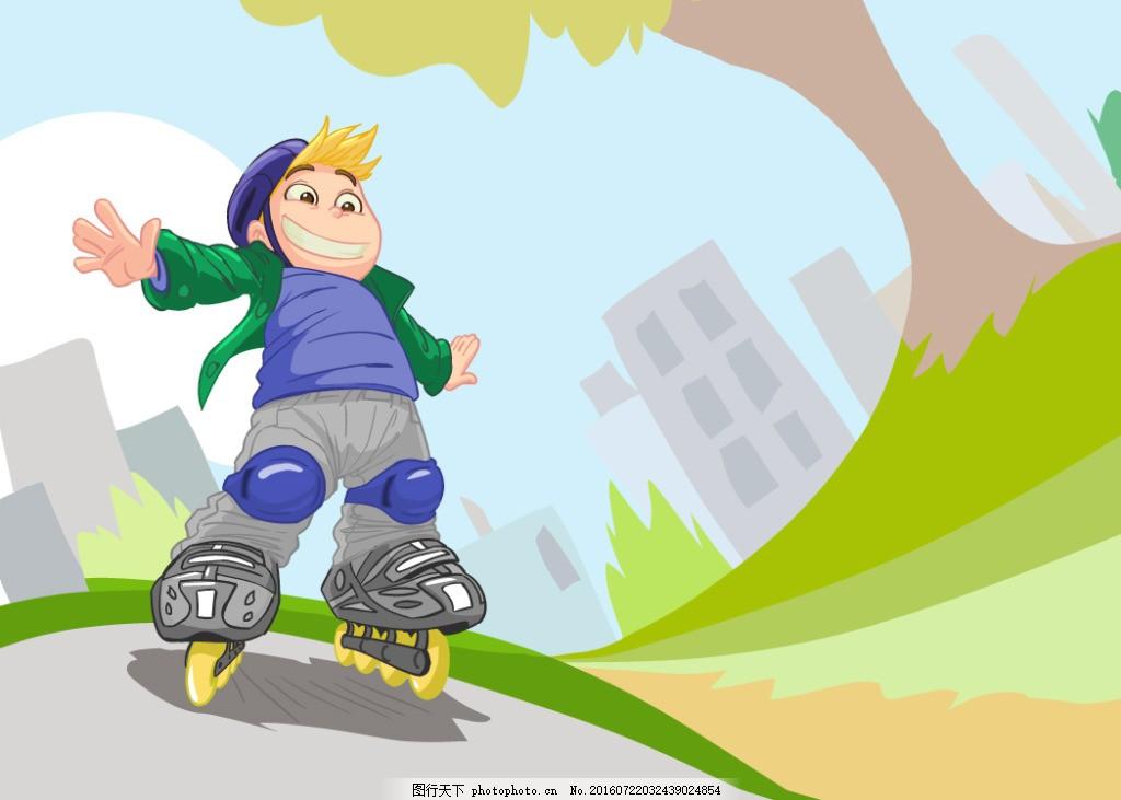 玩轮滑的卡通男孩 小男生 儿童漫画 儿童插画 儿童插图 快乐的儿童