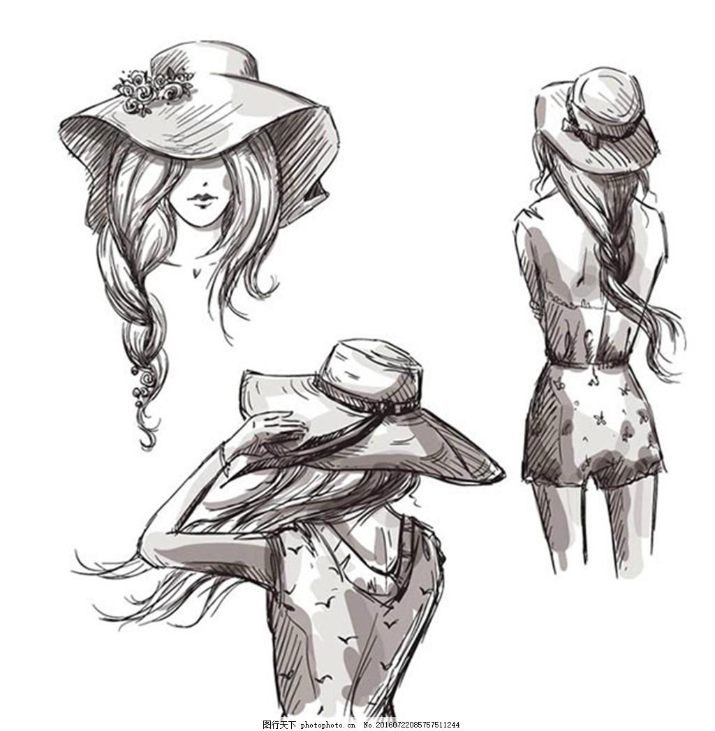 手绘女子设计 草帽 夏季 大海 沙滩 人物 头像 背影 矢量图