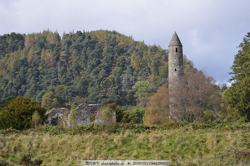 古代的文物建筑 塔 森林 石头 遗迹 特色     红色 jpg