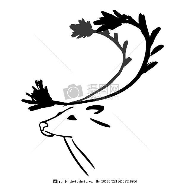 一只鹿的简笔画 驯鹿 动物 野生 孤立 墨水 非洲之角 东方风格