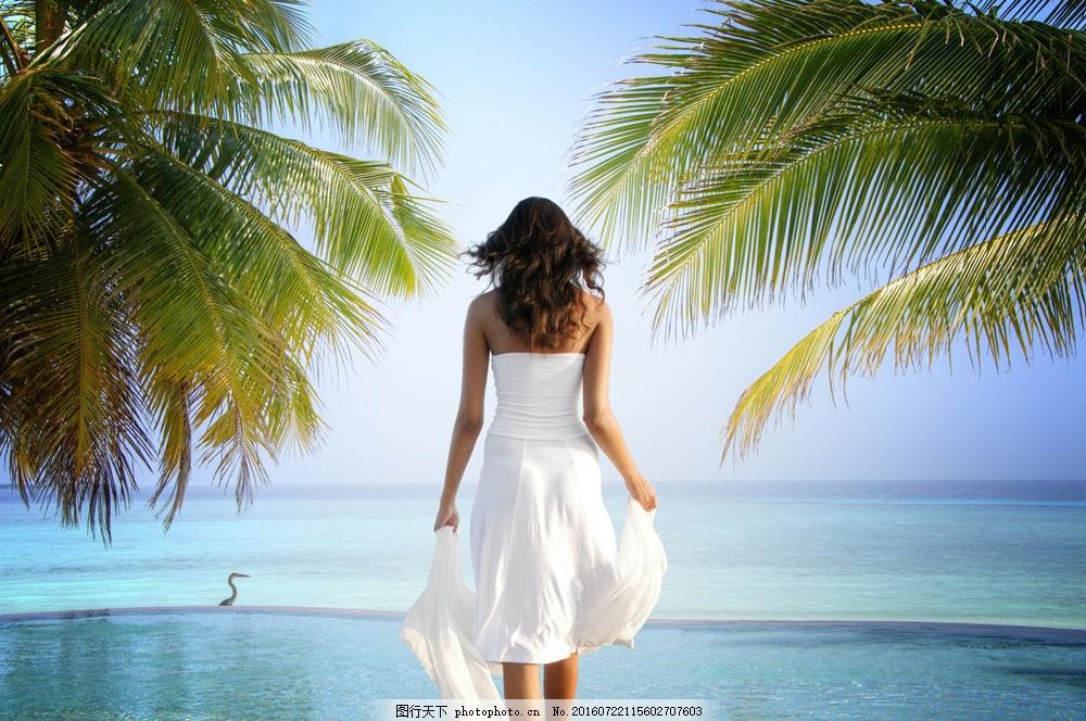 海边美女背影 海边美女背影图片素材 大海 椰子树 女人 外国人物
