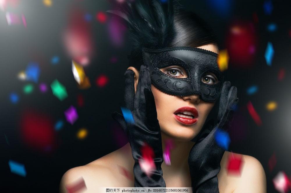 戴面具的美女 戴面具的美女图片素材 外国女性 女人 性感美女 时尚
