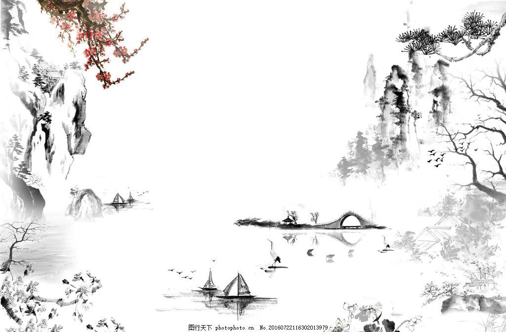 水墨人家 水墨船 梅花 鹤 水墨树 水墨荷花 设计 psd分层素材 风景
