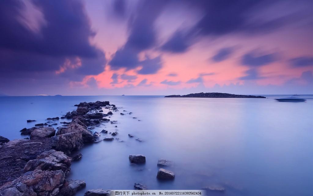 唯美紫色海滩风景图片素材下载 大海 海滩 海岸 沙滩 自然