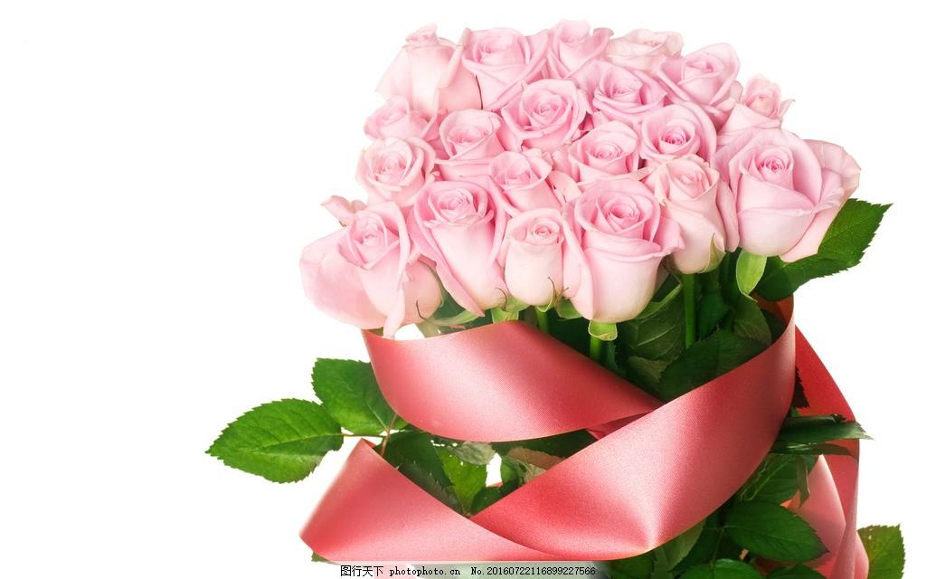 浪漫粉色玫瑰花束图片