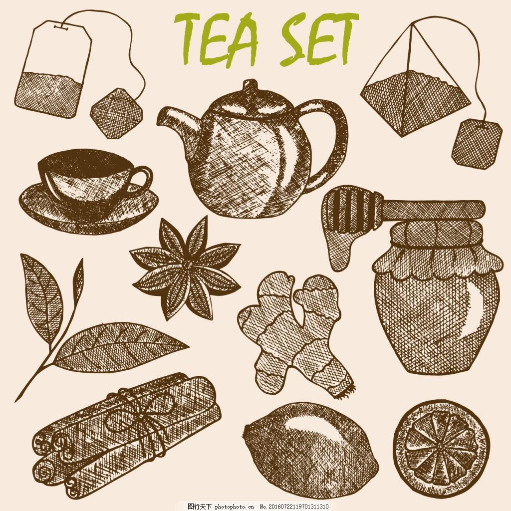 手绘素描茶具设计
