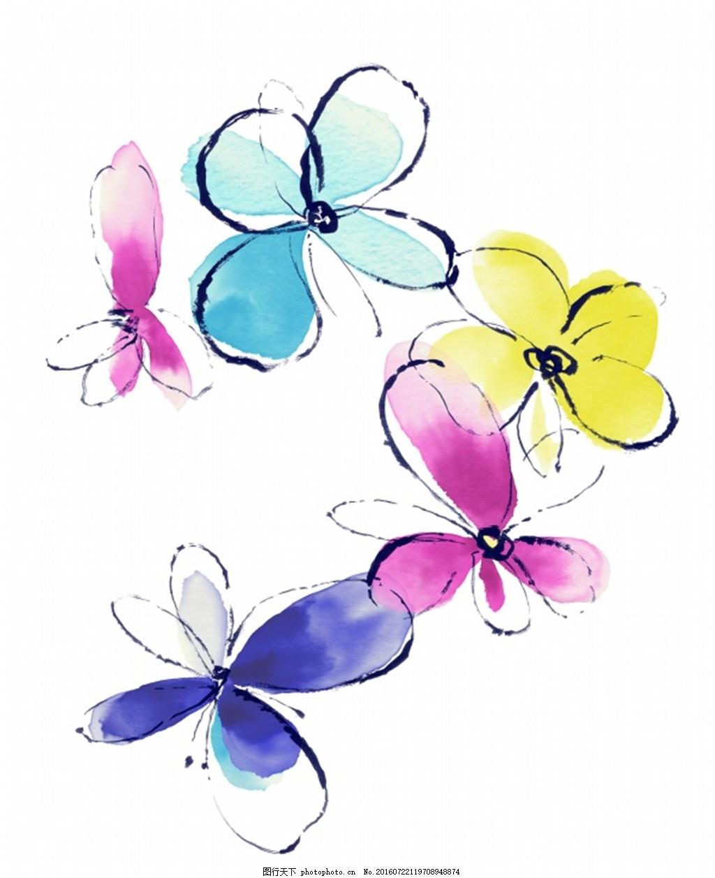 手绘蝴蝶花装饰素材 花蝴蝶 彩色花卉 鲜花 源文件 白色