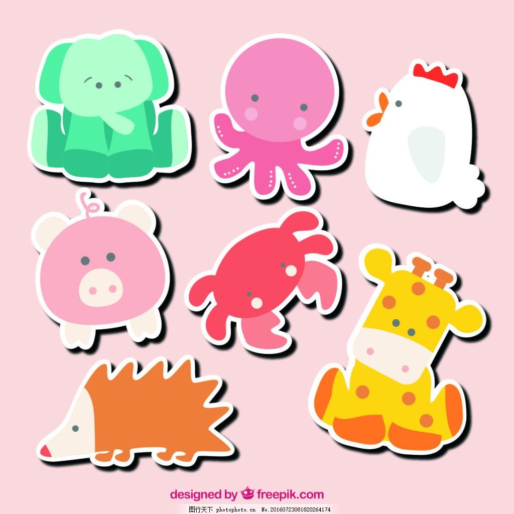 可爱动物贴纸 矢量 可爱小动物 小鹿 小象 小猪 小鸡