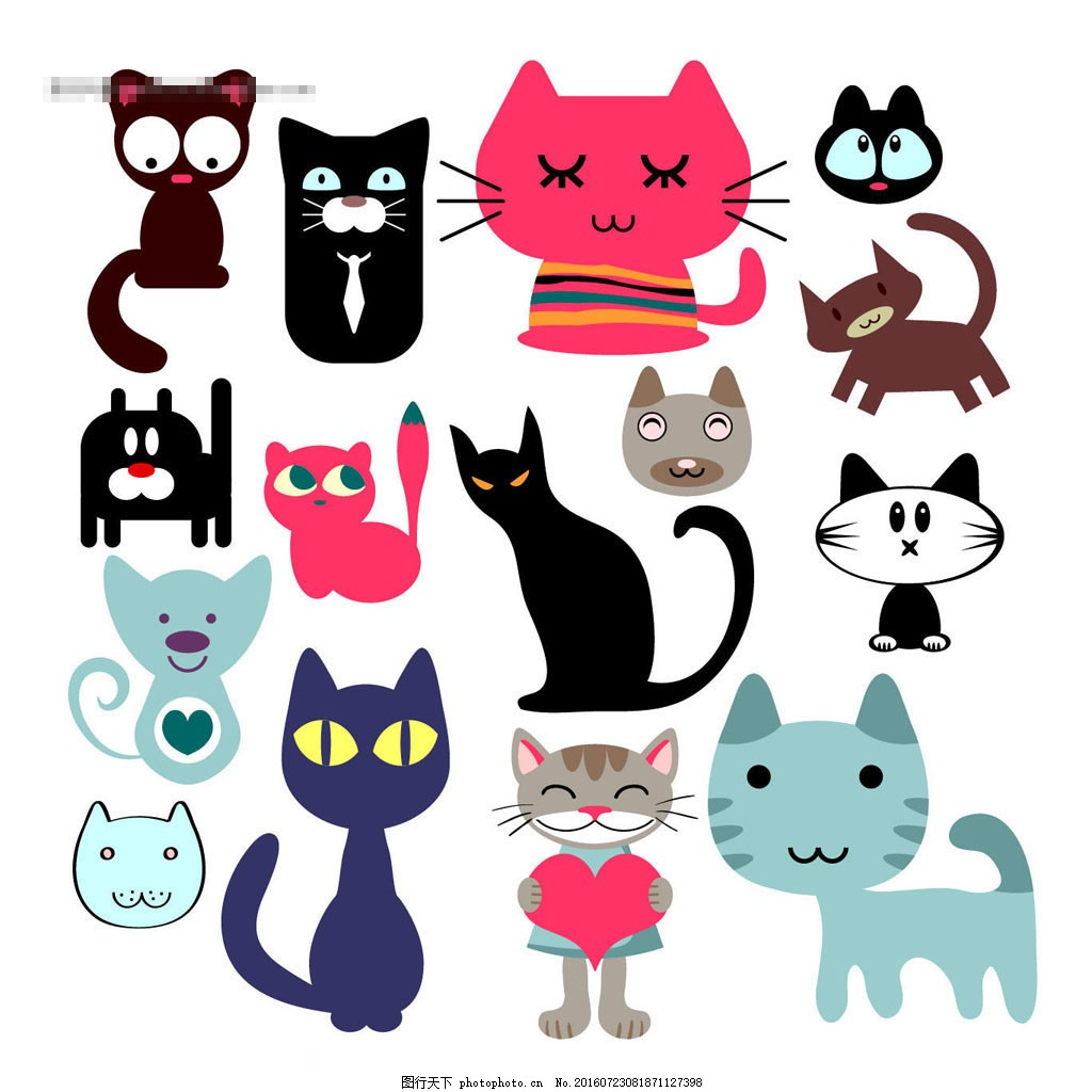 卡通猫咪卡通图片矢量模版 矢量模板 小猫 标志设计 商标设计 卡通
