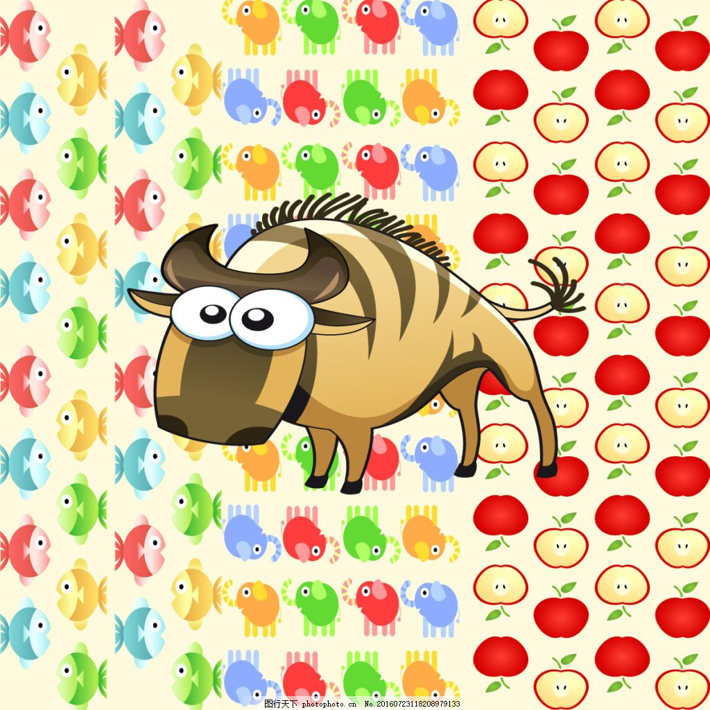 可爱的犀牛动物矢量图平面效果图