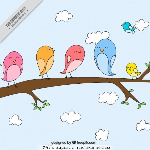 手画可爱的小鸟在树枝上背景 自然 动物 云 翅膀 羽毛 鸟类 丛林