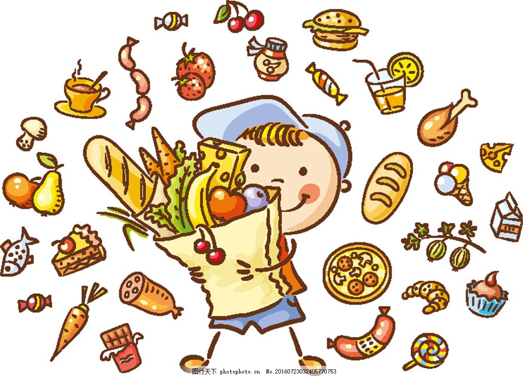 美食与卡通男孩插画 小男生 美食插画 卡通水果 胡萝卜 热狗 面包