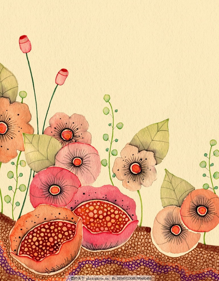 水彩花朵 水彩画 小清新 花虫画 虫鸟花 虫鸟画 花鸟画 画鸟 画小动物
