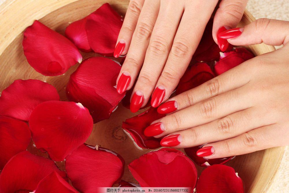 洗手的人物图片素材 脸盆 指甲 花朵 鲜花 手 手势 美甲 人物 人体