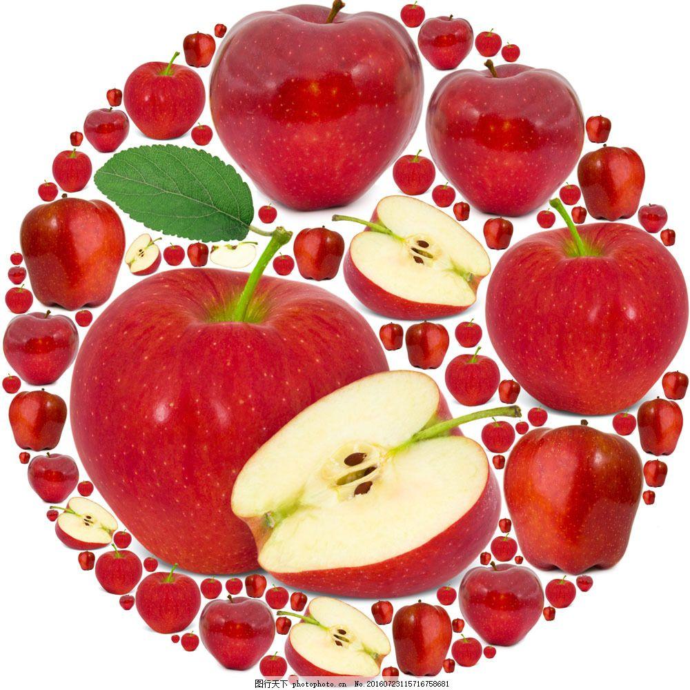 红色苹果组成的圆形图案图片