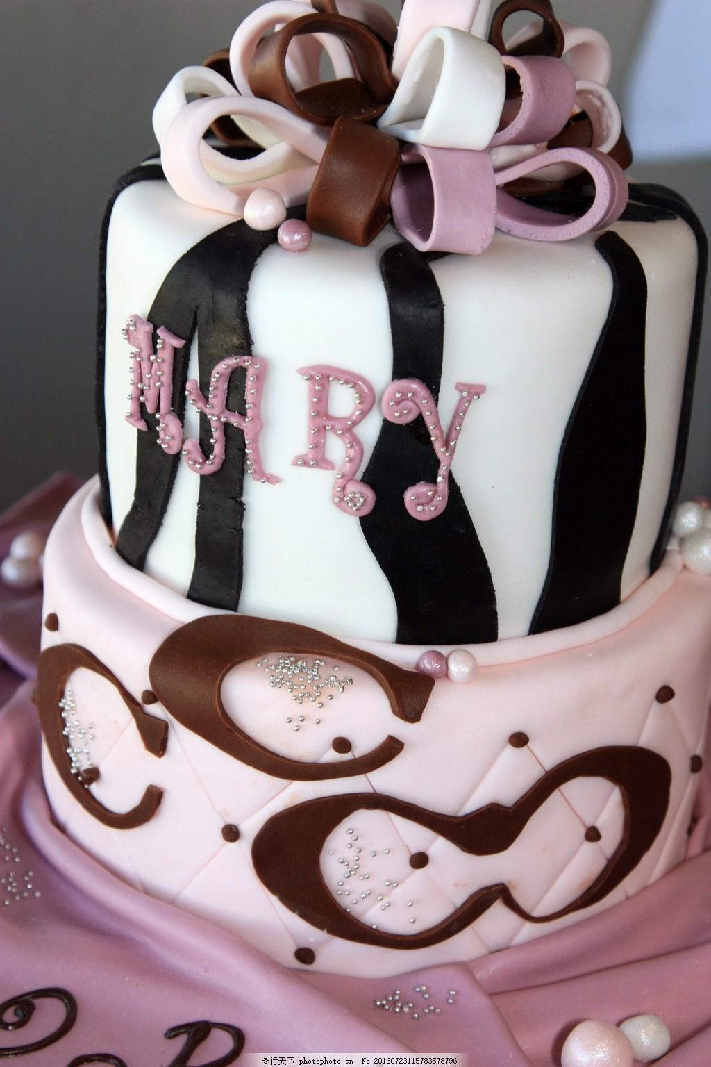 唯美翻糖双层蛋糕图片