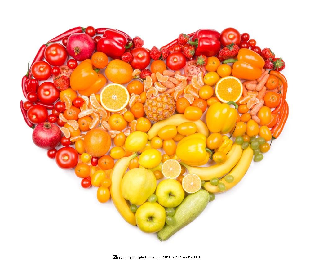 水果拼成的心形图案图片素材 香蕉 西红柿 番茄 苹果 新鲜蔬菜 果实