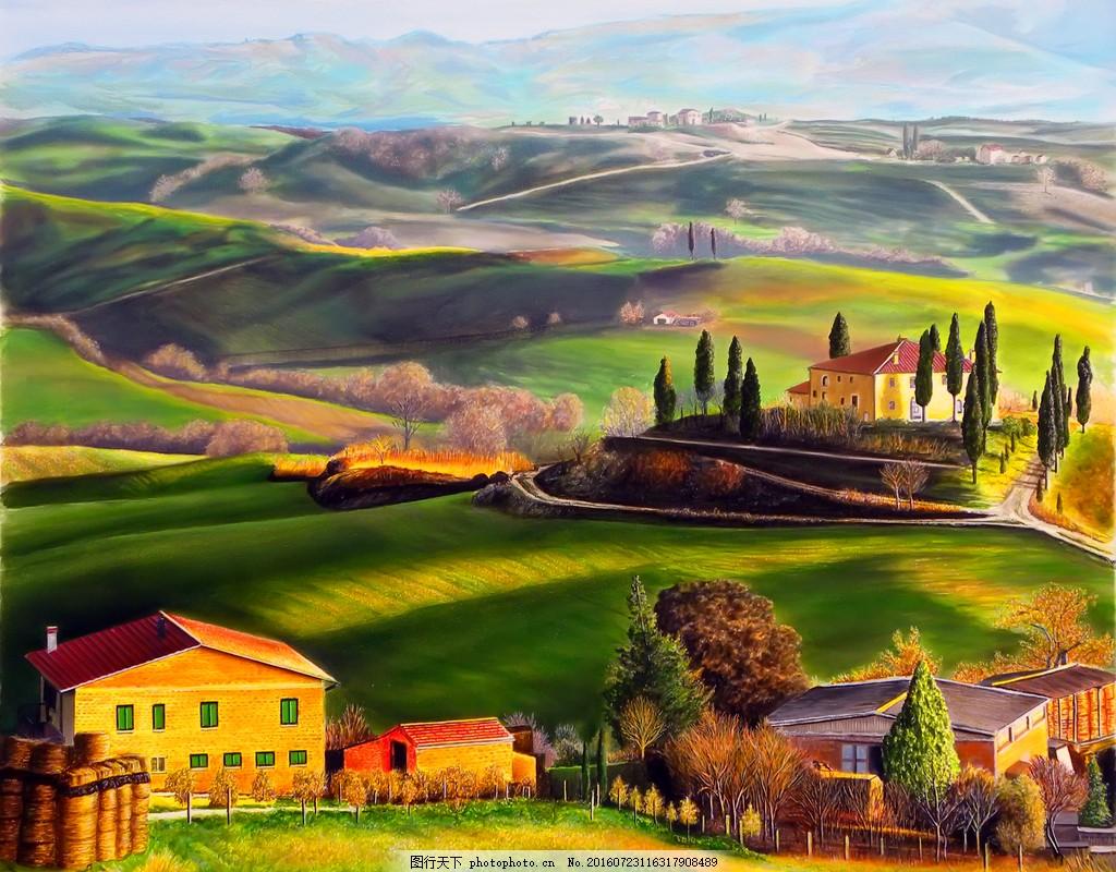 美国乡村田园风景油画图片