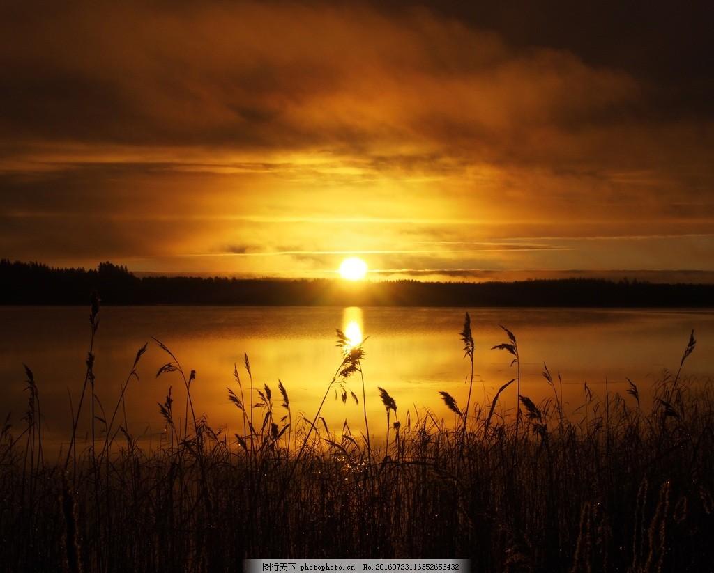 高清唯美夕阳风景图片下载 河道 阳光 残阳 逆光 海边