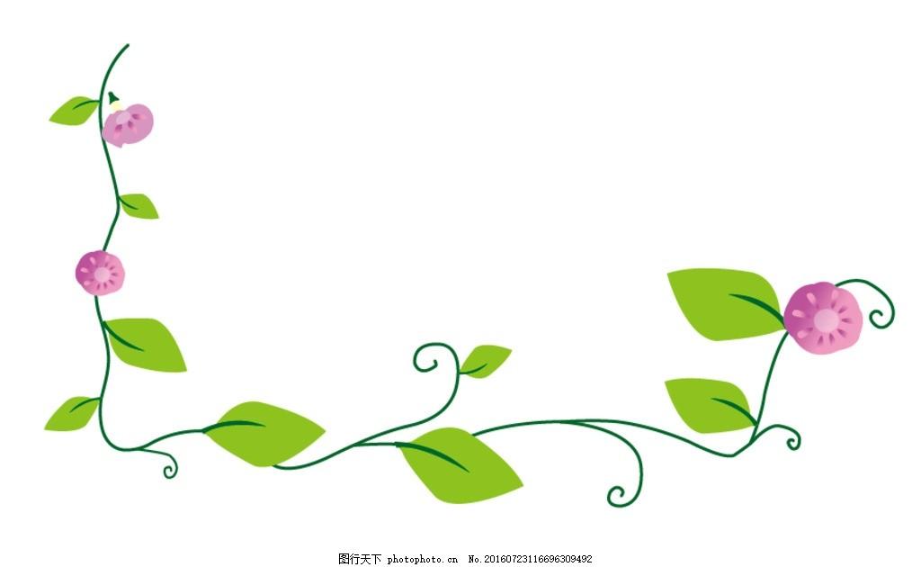 矢量花边 绿叶 红花 花边 藤蔓 花枝 设计 广告设计 其他 ai