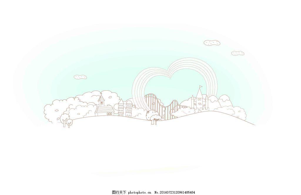 创意手绘线描城市图案 书本 花朵 建筑 学校 卡通 幼儿园 教育图片