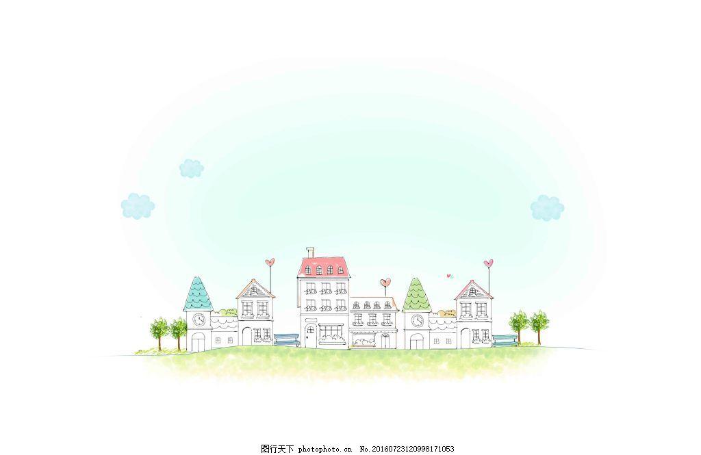 创意手绘线描城市风景 创意 线描 手绘 城市 书本 花朵 建筑 学校