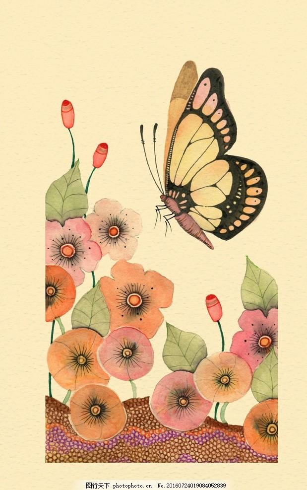 水彩画 小清新 花虫画 虫鸟花 虫鸟画 花鸟画 画鸟 画小动物 画花朵